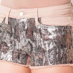 Joe's Jeans Pink Shelly Sequin Cut Off Shorts